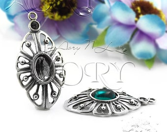 1pcs 925 Sterling Silver Pendant Setting Gallery for 8x6mm + 2.5mm Gems, Antique Silver Color, 1062as , Total Size 30x15.5mm, Oxidized