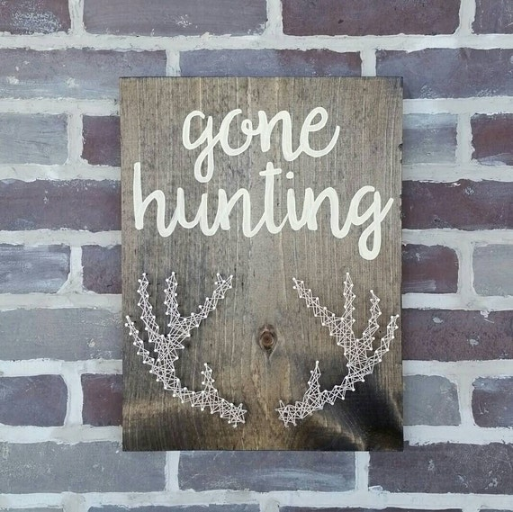 Gone Fishing Signs Decor: Gone Hunting String Art Antlers Man Cave Sign Gift For Dad