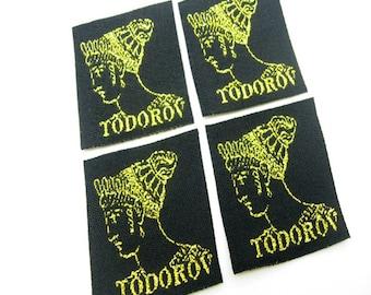 1000 pcs Custom gold cloth label, gold metallic cloth label, cloth label gold metallic