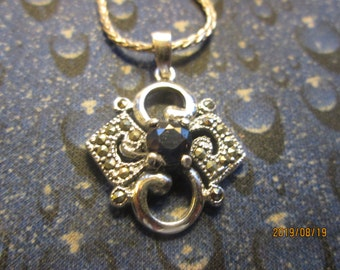 Handcrafted 1.17ctw Genuine Dark Blue Sapphire & Marcasite Sterling Silver 925 Pendant, Wt. 5 G