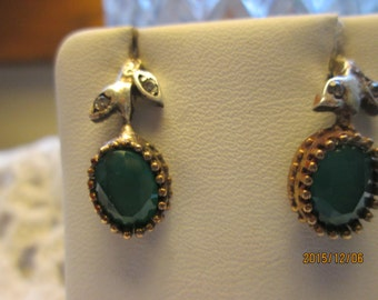 Style Art Deco Gold/925 Sterling Silver 2.00ctw Emerald & White Sapphire Post Earrings, Wt. 3.5 Grams