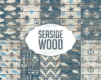 """Seaside Digital Paper: """"Seaside Wood"""" digital sea patterns with whales and anchors,  nautical backgrounds, wood textures in blue tones"""