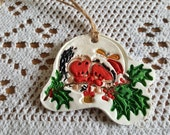 6 Large Handmade  Hand painted CLAY Christmas Gift TagsTree Decorations