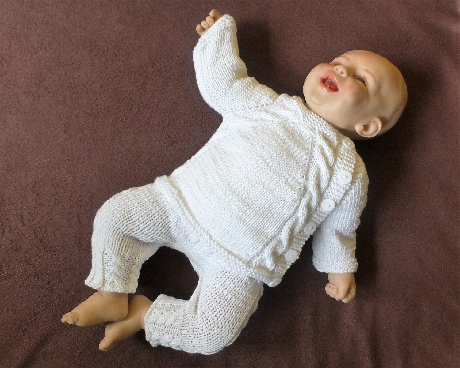 White Baby cardigan and pants Hand knit baby clothes