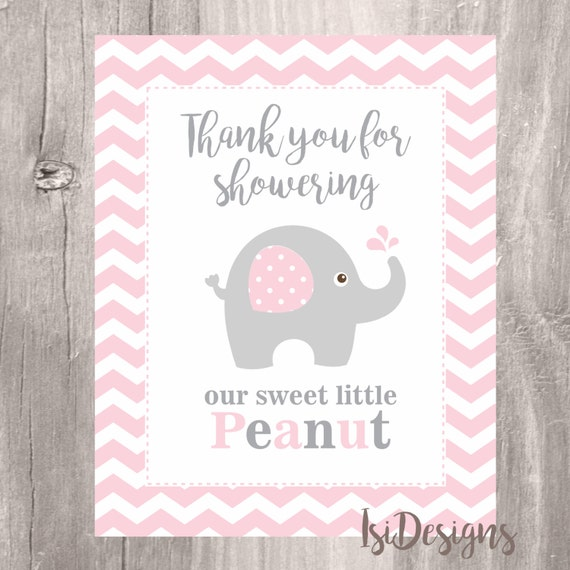 Pink Elephant Baby Shower Sign Instant Download 8 X 10 Thank