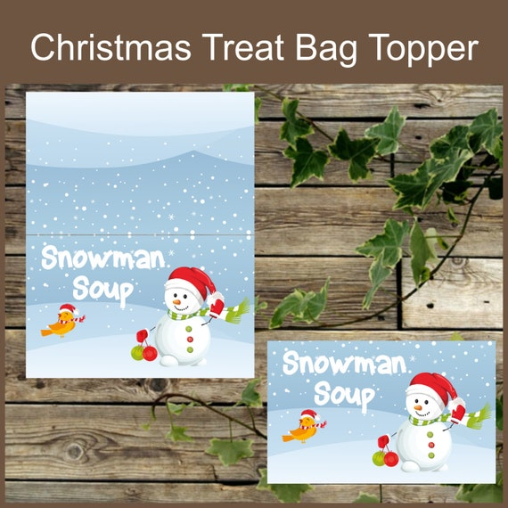 ... Candy Bag Topper, Instant Download, Snowman Printable Bag Toppers