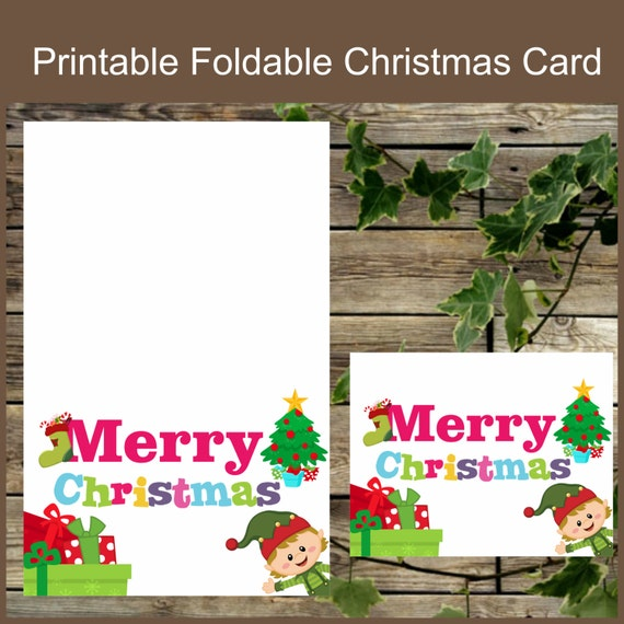 Christmas Printable Card Foldable Christmas Card Instant