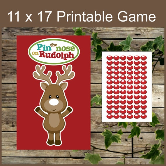 Christmas Printable Game, Pin the Nose on Rudolph, Instant Download ...