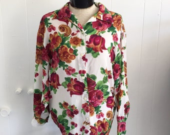 Small Floral Button Up Blouse