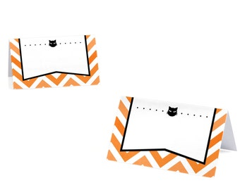 Eat, Drink and Be Scary - Chevron Black and Orange - Halloween Party Place Cards - Set of 9
