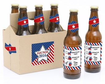 Election - Political Party  Beer Labels - 6 Beer Bottle Labels & 1 Carrier - Election Day Beer Kit