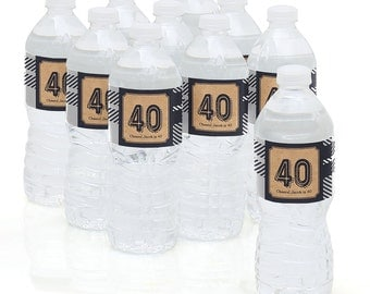 40th Birthday Party - Water Bottle Sticker Labels - Personalized Waterproof Self Stick Labels - 40th Milestone Birthday Favors - 10 Ct.