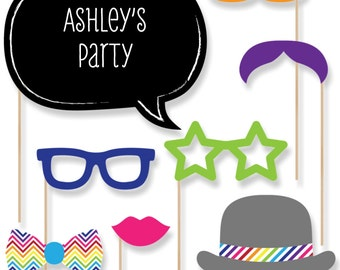 20 Rainbow Chevron Photo Booth Props with Mustache, Hats, Bow Ties and Custom Talk Bubble - Baby Shower, Brithday Party, Bridal Shower