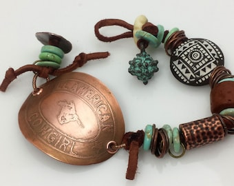 """Cowgirl Bracelet, Copper, Etched Western Focal """"All American Cowgirl"""", Patina & Leather, Southwest, Rodeo, Cowgirl, Square Dance, NB122"""