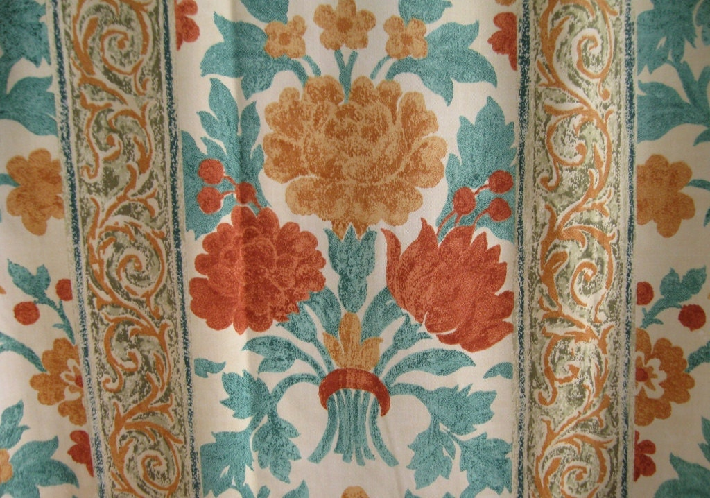 VINTAGE FRENCH CURTAIN / Drapery / Panel Curtain / Fabric
