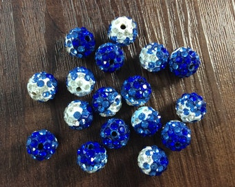 10 pcs  Gradient Polymer Clay Shamballa Beads Paved Crystal B106042