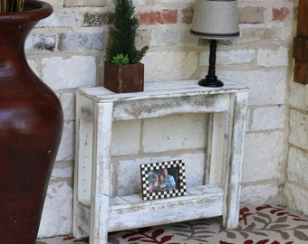 White Rustic Accent End Table