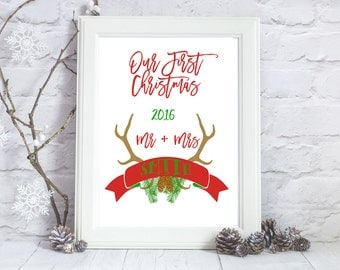 First Christmas as mr and Mrs, First Christmas Ornament Married, First Christmas print, First Christmas Married, Mr and Mrs Christmas print
