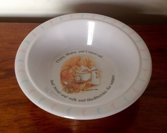 Child's Melamine Beatrix Potter Bowl. Flopsy, Mopsy and Cottontail Bowl. 1991.