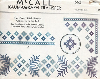 Vintage 1930s McCall Kaumagraph Transfer Pattern 662- Blue Embroidery Transfer Two Cross Stitch Borders Crosses 5 to the Inch