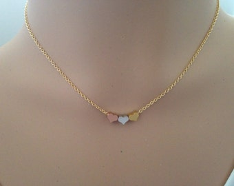 Tiny hearts necklace, sisters necklace