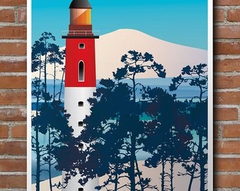 Poster illustrated Phare du Cap-Ferret