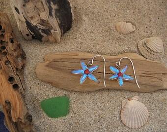Fused Dichroic Glass Starfish Earrings