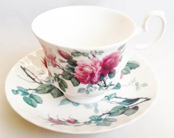 Roy Kirkham English Rose cup and saucer - Pink roses breakfast cup - English fine bone china