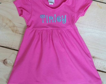 Hot Pink Monogrammed Cotton Cap Sleeve Dress For Baby Girl 3 months-4T