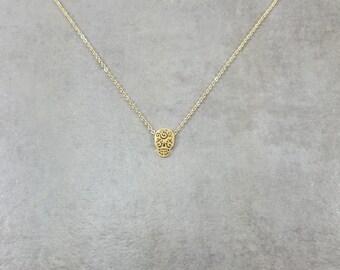 Mexican Skull Calavera Gold Plated Necklace Gift Box Mexican Bone Head Day Dead Dios de los Muertos