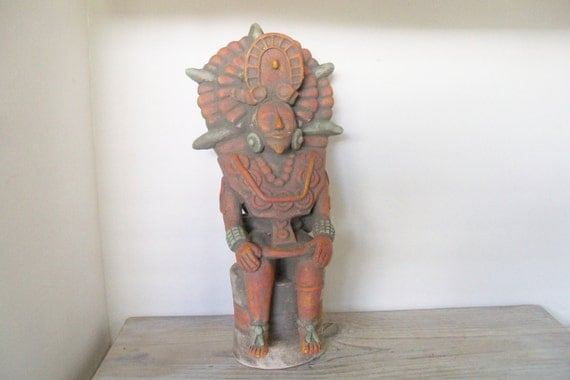 Vintage Aztec King on a Throne Southwestern Mexican Clay Sculpture Red and Green Dyes 1960s
