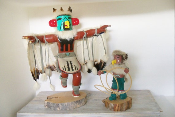Vintage Native American Kachina Eagle Dancer and Hopi Hoop Dancer Hand Carved Solid Wood Hand Painted Signed C. Lee and Freida Charley 1980s