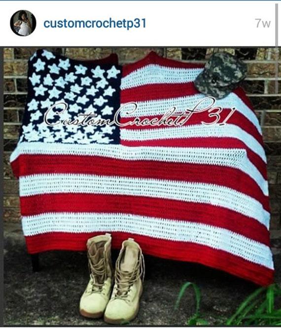 Crochet American Flag Throw
