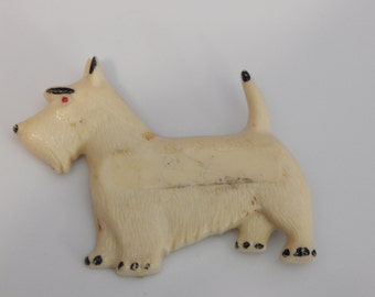 Vintage Scotty Dog Brooch Cream Colored White Celluloid Scottish Terrier Brooch Pin