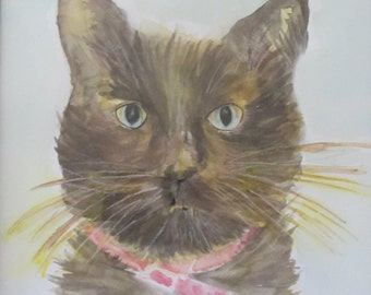 New-original watercolor Cat painting,-free shipping