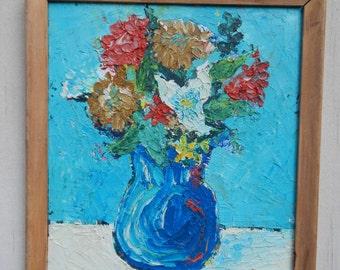 SALE Vibrant impasto Floral Oil Painting!