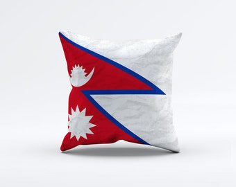 Flag of Nepal Throw Pillow Cover 15 x 15 inch