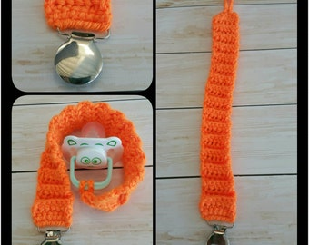 CLEARANCE Orange Crocheted Pacifier Clip  Best for 3-6 Month Olds