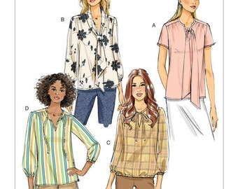 Butterick Sewing Pattern B6378 Misses' Gathered Tops and Tunics with Neck Ties