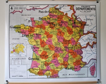 Reproduction d 39 ancienne carte d 39 cole n 5 france - Carte de france murale ...