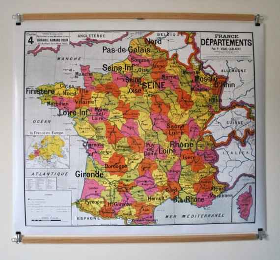 Reproduction d 39 ancienne carte d 39 cole n 4 france - Carte murale scolaire ancienne ...