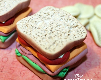 Play Doll Food, Miniatures, Collectible, Stacked Deli Sandwich with White Bread, Lettuce, Ham, Cheddar, Tomato and Mayo, Lunch, Deli
