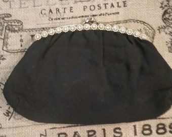 Vintage black satin clutch with beaded trim