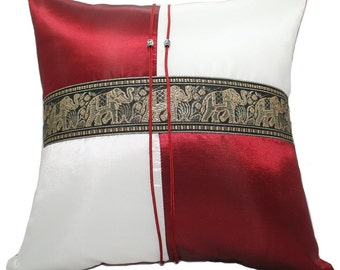 Thai Silk Pillow Covers Elephant style  Cushion Case Sofa Couch Home Decor
