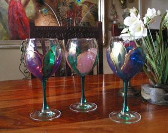 Gorgeous Vintage Hand Painted Wine Stemware Set of Three