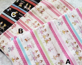 "Ballerina princess ballet dance lines with laces print cotton fabric ~ by half yard (45"" wide)"