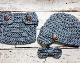 Newborn Baby Boy Photo Prop Handmade Crochet Diaper Cover, Crochet Diaper Cover Hat and Bow Tie Set * Grey