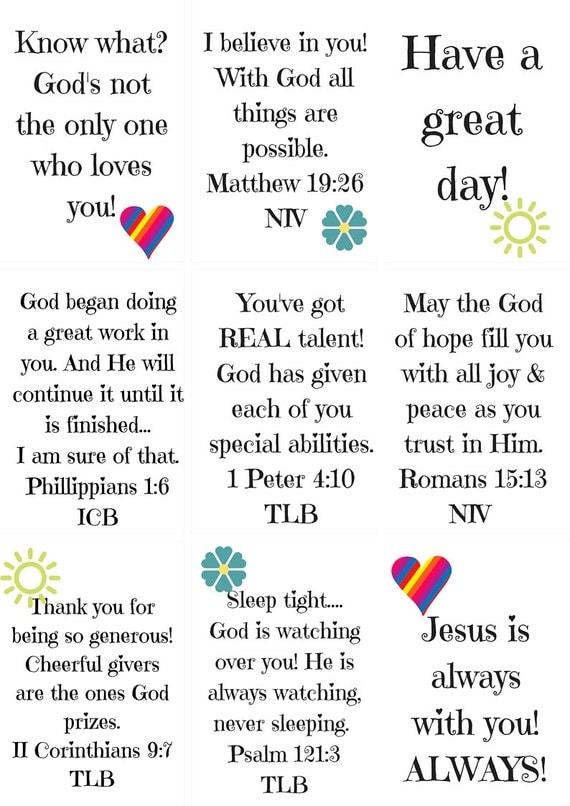 Printable Biblical Love Notes for Children Printable