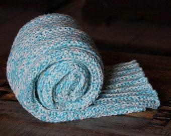 Afghan- Throw Size- Lightweight- Turquiose-Sage-Off White-Crochet- Handmade