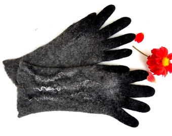 Winter gloves Felted gloves with fingers Alpaca wool gloves Black mittens  Warm gloves Fall gloves Unisex gloves Arm warmers Christmas gifts